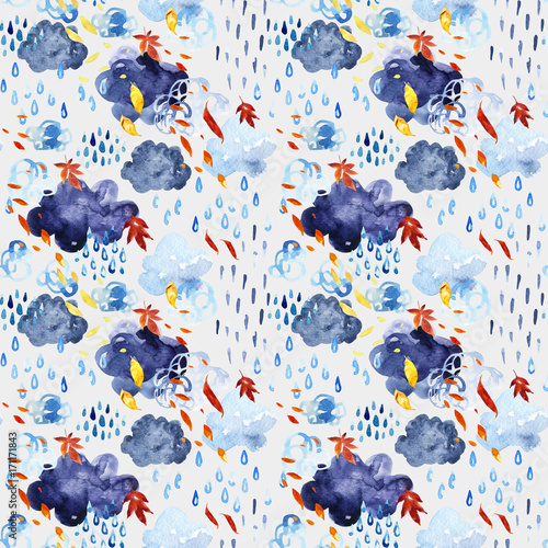 Watercolor falling leaves and shower seamless pattern.