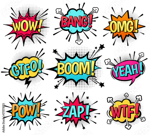 Fotografie, Tablou Comic speech bubble set with  text: Wow, Bang, Omg, Gtfo, Boom, Yeah, Pow, Zap, Wtf