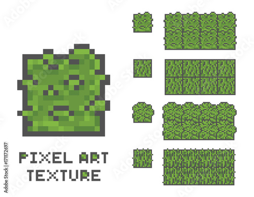 pixel art 8 bit game sprite illustration  green grass tree