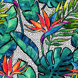 Watercolor tropical leaves and flowers with contour seamless pattern. - 171174065