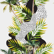 Abstract Summer Tropical Palm Tree Background.