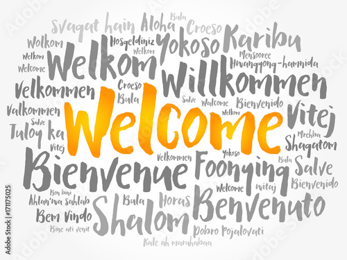 Fotografia  WELCOME word cloud in different languages, conceptual background