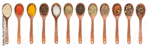 Poster Spices Set of spoons with different spices