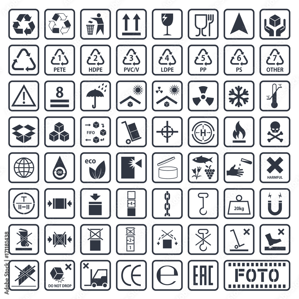 Fotografía Packaging symbols set, cargo icons, vector