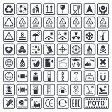 Packaging Symbols Set, Cargo Icons, Vector Illustration