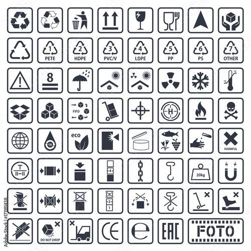 Fotografía  Packaging symbols set, cargo icons, vector illustration