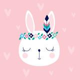 cute white bunny rabbit in hippie style vector illustration - 171183676