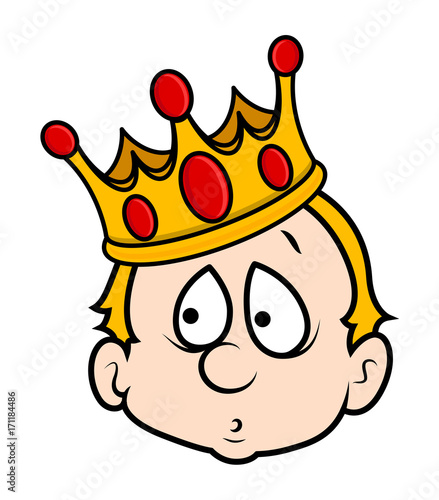 Scared Dumb King Cartoon Boy Face Expression With Golden King Crown