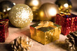 Gold present with decoration for Christmas celebration for happy new year 2018