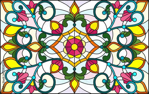 ilustracja-w-stylu-witrazu-z-streszczenie-wiruje-kwiaty-i-pozostawia-na