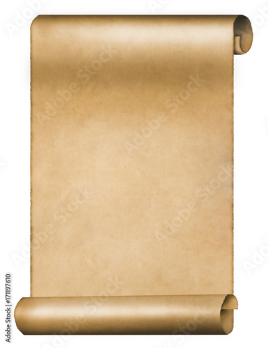 Old vintage parchment scroll isolated on white background Poster