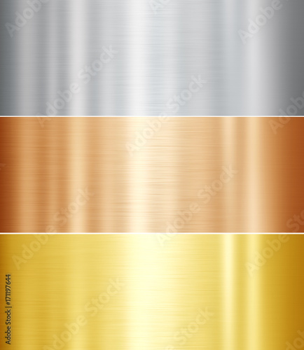 Set of metal textures. Gold, silver, bronze Canvas Print