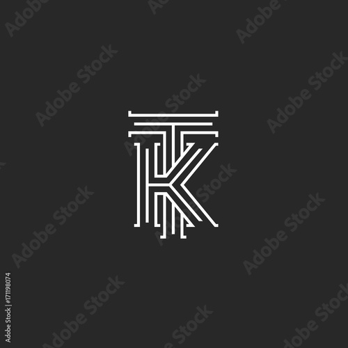 Medieval Monogram Tk Logo Combination Initials T And K