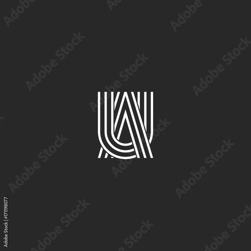 Logo UA letters monogram combination symbols, thin lines linked two capital lett Canvas Print