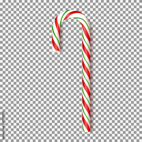 Fotografie, Obraz  Realistic Xmas candy cane isolated on transparent backdrop