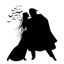 Silhouette Of Romantic And Vic...