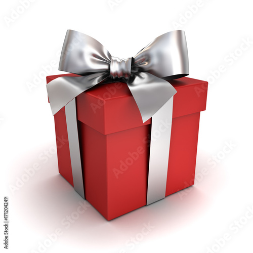 Gift box or red present box with silver ribbon bow isolated on white background with shadow . 3D rendering. © masterzphotofo