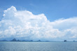 View from ship looking to beautiful cloud on the sky reflection on clear water in the sea