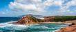 Landscape of the coast of porticciolo in a windy day