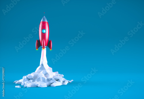 Photo  Red rocket with copy space