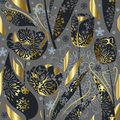 FototapetaSeamless pattern with openwork tulips