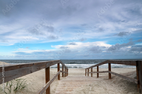 Way To The Beach Marine Landscape With Wooden Boardwalk Leads Atlantic Ocean