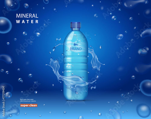 Drinking mineral water bottle ad on blue background with shiny sparkling drops. realistic 3d vector illustration