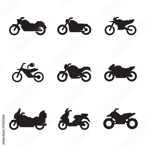 Motorcycles icon set Wall mural
