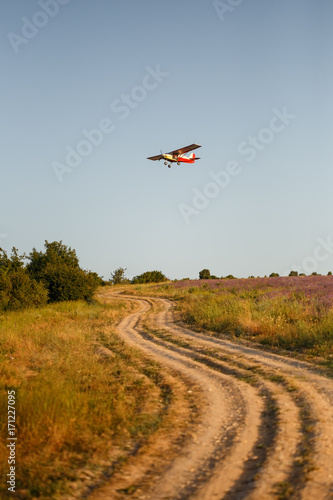 Small plane flies over country road and lavender