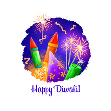 Happy Diwali Digital Art Illustration Isolated On White Background. Hindus Festival Of Lights. Deepavali Hand Drawn Graphic Clip Art Drawing For Web, Print. Flying Fireworkd And Burning Sparklers