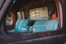 The Inside Of A Vintage Car