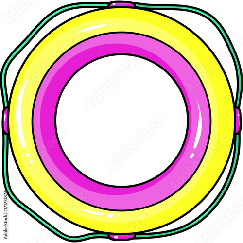 Fotografie, Obraz  Multicolored swimming circle for relaxing