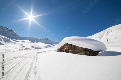 Obraz na plátně  Beautiful winter scenery in Ciampac ski arena, Val di Fassa, Dolomites montains,