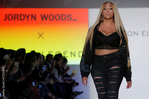 241f557474d Jordyn Woods walks the runway during the Addition Elle Spring/Summer 2018  presentation at New