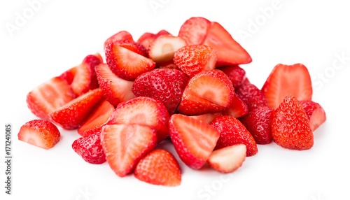 Portion of Strawberries (Chopped) isolated on white