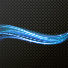 Light Line Neon Swirl Effect. Bokeh Light Glitter Round Wave Line With Sparkling Particles. Vector Blue Glitter Light Fire Flare Trace. Magic Sparkle Swirl Trail Effect On Transparent Background