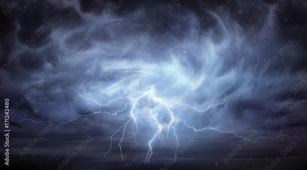 Fototapeta Rain And Thunderstorm In Dramatic Sky