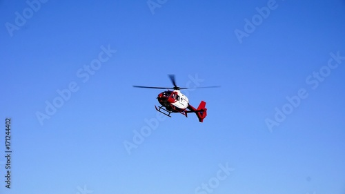 Tuinposter Helicopter Helicopter - Urgent Healthcare Services - Medical Emergency - Flying Helicopter Attending a Car Accident.