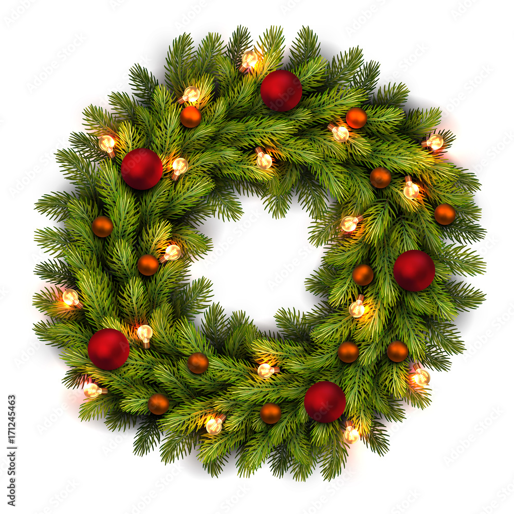 Fototapeta Christmas greeting card and background. Christmas wreath with bulbs and red, orange balls. Vector Vector illustration.