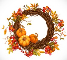 Autumn Wreath Of Twigs, Leaves...