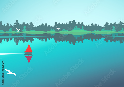 Fotobehang Turkoois Vector landscape with lake, forest and boat