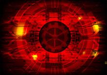 Red Digital Technology Concept Background, Vector Illustration