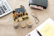 Saving money home. Mortgage concept