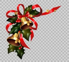 Christmas Decoration Holly Wreath Bow Gold Bells Element Vector Isolated Transparent Background