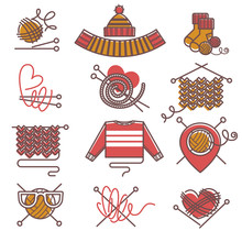 Knitted Clothing Or Knitwear Winter Clothes Scarf Mittens And Sweater Vector Icons
