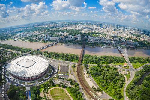Obraz Warszawa z lotu ptaka, Stadion Narodowy - fototapety do salonu