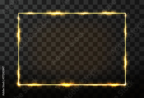 Canvastavla Vector golden frame with glow effect