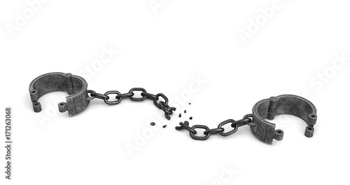 Fototapeta 3d rendering of a pair of open metal shackles with a broken chain link on white background. obraz