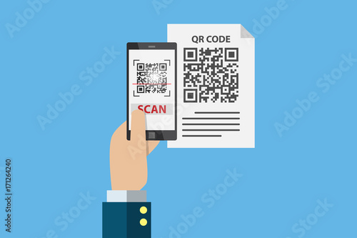Fotografie, Obraz  business hand holding smartphone to scan qr code on paper for detail, technology