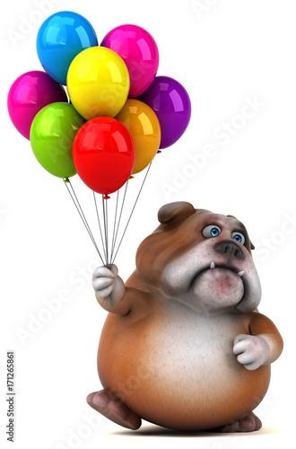 buldog-3d-z-kolorowymi-balonami-na-bialym-tle